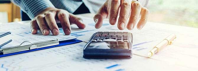 Businessman working on financials